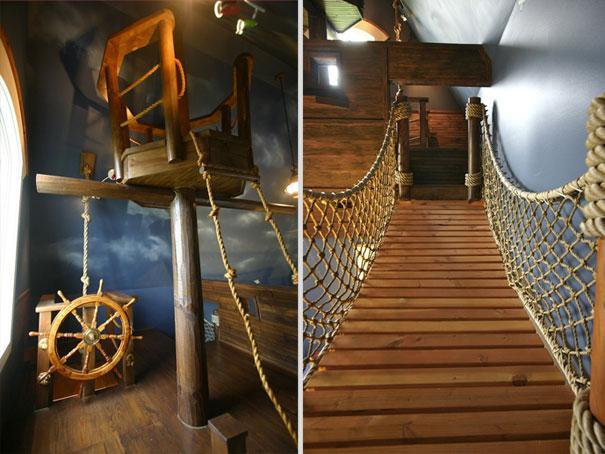 Barco pirata en dormitorio infantíl